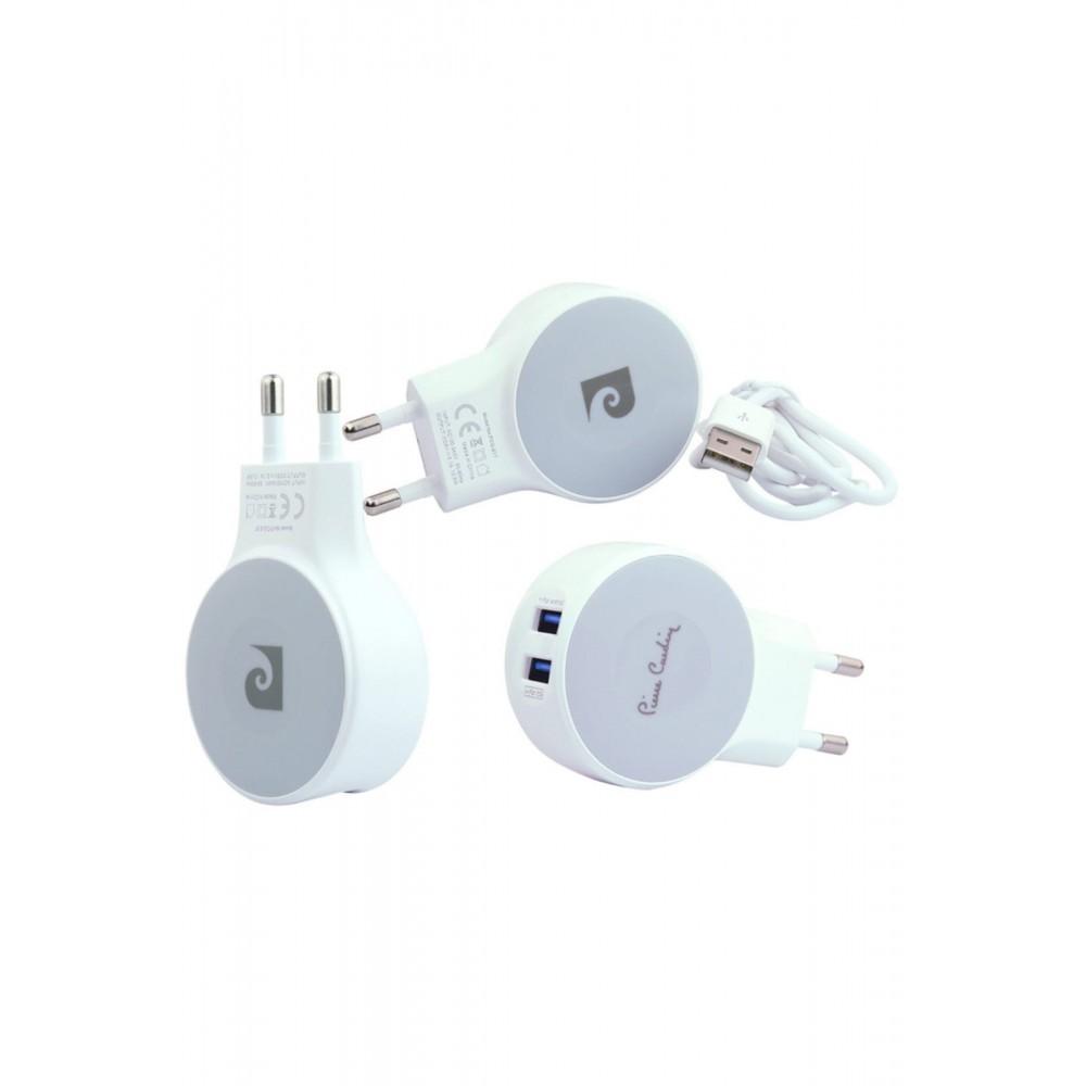 Pierre Cardin Çift Usb Çıkışlı Şarj Cihazı & Micro Kablo